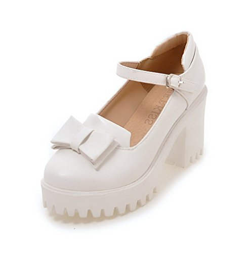 VogueZone009 Women's High-Heels PU Solid Buckle Round-Toe Pumps-Shoes White NzKNXyVc
