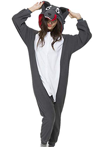 Unisex Adult Grey Wolf Pyjamas Halloween Costume One Piece Animal Cosplay Onesie -
