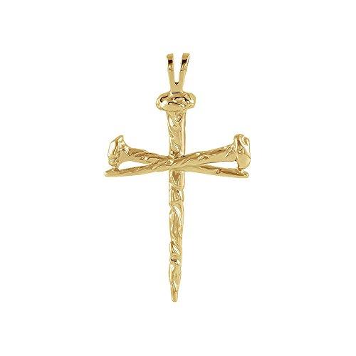 14k Yellow Gold Nail - Men's 14k Yellow Gold Polished Nail Cross Pendant, 24 x 34mm
