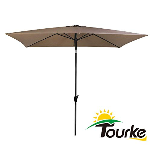 Tourke 10 x 6.5 Ft Patio Table Umbrella Outdoor Umbrella with Push Button Tilt and Crank, 6 Steel Ribs, for Garden, Deck, Backyard, Swimming Pool and More (Taupe)