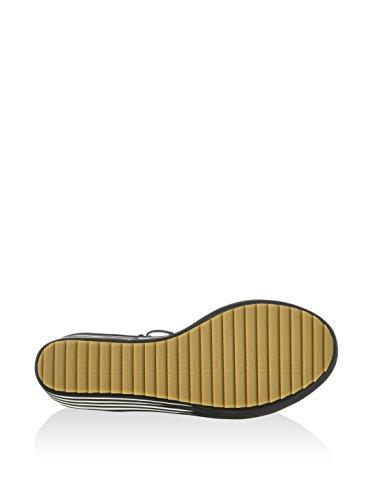 Fornarina Sandales Wedge Haute couleur Noir / Blanc Item PEFCP9523WVA0000 Calipso 9 Blak Calf Pu Collection Printemps Eté 2016 New PEFCP 9523WVA 0000