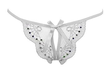 Pantalones de diamante entrepierna abierta y transparente tanga mujeres bragas ropa interior t ,Blanco