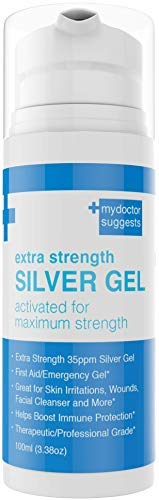 Silver Gel Extra Strength - 35ppm Silver Activated for Maximum Strength: First Aid/Emergency Gel, Skin Irritations, Wounds, Facial Cleanser, Immune Protection. Therapeutic