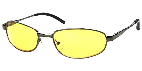 Men Women Unisex Spring Temple Metal Wrap Around Yellow HD Night Driving Glasses Sunglasses , Yellow Lens for Better Night Vision, Gunmetal (Microfiber Pouch - Designer Bargain Sunglasses