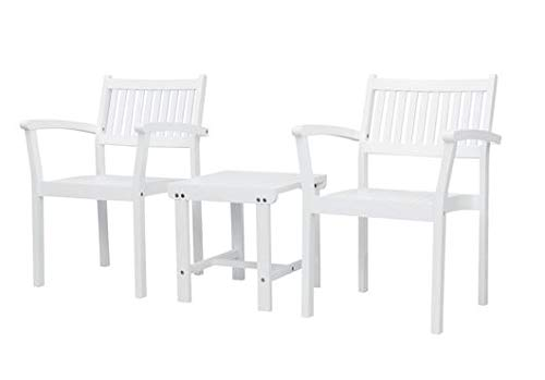Luca Outdoor- Sunroom Furniture- Out Door Patio Furniture- Three Piece Set White Acacia Wood Slatted Design - Great for Summer Barbecues, Garden Parties, and Afternoons Spent Lounging