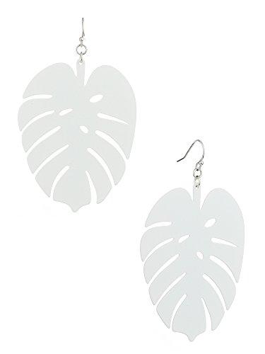 Women's Flat Matte Palm Tree Leaf Pierced Dangle Earrings, White