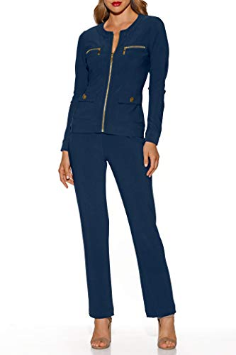 - Boston Proper Women's Wrinkle-Resistant Solid Color Chic Two-Piece Knit Set Maritime Navy Large