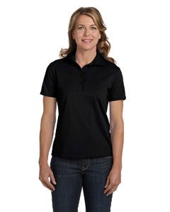 Hanes 035X Women's ComfortSoft Pique Knit Sport Shirt Black Large