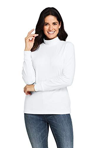 Lands' End Women's Petite Relaxed Cotton Long Sleeve Mock Turtleneck L White