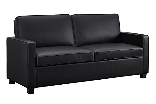 Signature Sleep Casey Faux Leather Sleeper Sofa with Memory Foam Mattress, Full