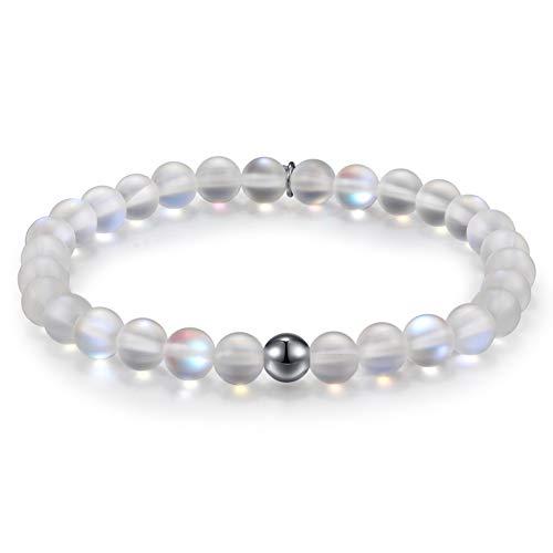 Townshine 6mm Round Moonstone Beaded Bracelet Stretch Mermaid Glass Bracelet for Women Girls,Couples Beaded Glass Bracelet