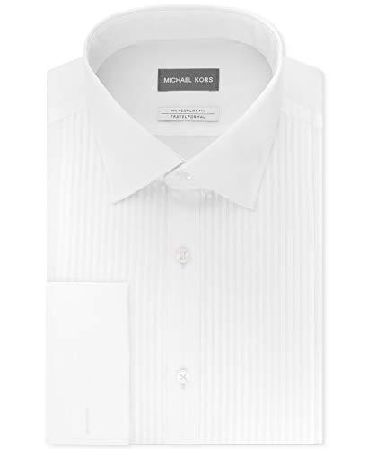 - Michael Kors Men's Tuxedo Regular Fit Airsoft Stretch Performance Tonal Stripe French Cuff Dress Shirt White 17 36-37