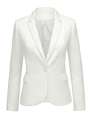 Lookbook Store Women White Notched Lapel Pocket Button Work Office Blazer Jacket Suit Size S