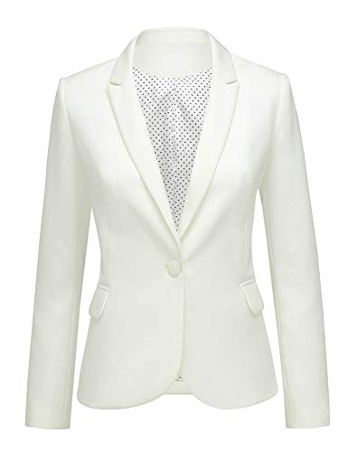 LookbookStore Women White Notched Lapel Pocket Button Work Office Blazer Jacket Suit Size S ()