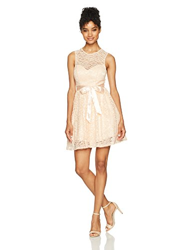 Bee Darlin Junior's Sleeveless Jewel Neck Party Dress With Ribbon Tie, Peach/Silver/Clear, 1/2