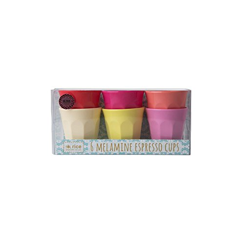 Rice Melamine Cup Espresso Cups Set of 6 Sunny Colors