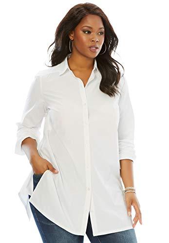 Roamans Women's Plus Size Kate Tunic - White, 16 W