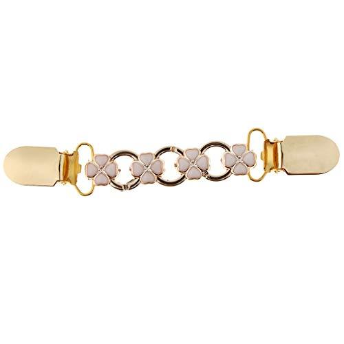 Women Ladies Retro Gold Cardigan Clip Chain Shawl Shrug Sweater Collar Clasp (Color - Gold Leaf)