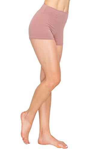 ALWAYS Women Workout Yoga Shorts - Premium Buttery Soft Solid Stretch Cheerleader Running Dance Volleyball Short Pants Mauve S