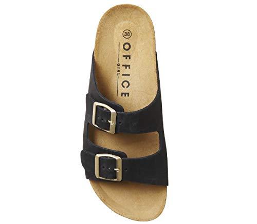 Office 4 Hype Black Nubuck Double Uk 2 Sandals Strap rrwxvSq7