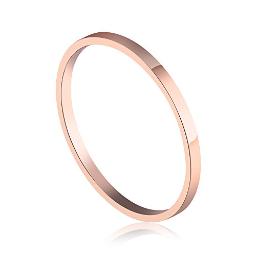 (Fate Love 1.5mm 18K Rose Gold Plated Polish Plain Ring Comfort Fit Wedding Band Stackable Engagement Ring(Size 3 to 8))