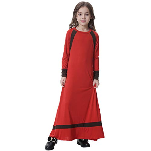 HYIRI Girl Solid Saudi Arab Islamic Women's Muslim Dubai Robe for Girl Abaya Dubai Dress Red -