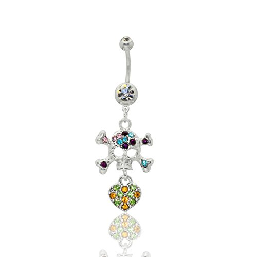 Skull & Crossbones With Jeweled Heart Dangle Surgical Steel Belly Button Ring 14G 3/8 bar length With Cubic Zirconia Stones Skull Crossbones Dangle