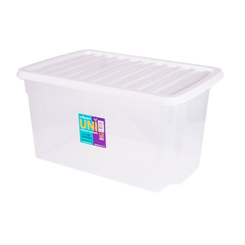 -[ 5x 50 Litre CLEAR PLASTIC STACKER BOX Large Storage Box With Lids  ]-