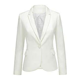 LookbookStore Women's Beige Notched Lapel Pocket Button Work Office Blazer Jacket Suit Size XL