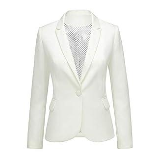 LookbookStore Women's Beige Notched Lapel Pocket Button Work Office Blazer Jacket Suit Size XL