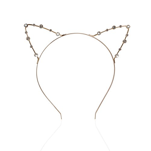 Rhinestone Headband with Cat Ears Fancy Dress for Costume Party (Gold)