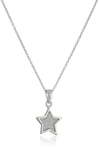 Sterling Silver Glitter Star Pendant Necklace, 18
