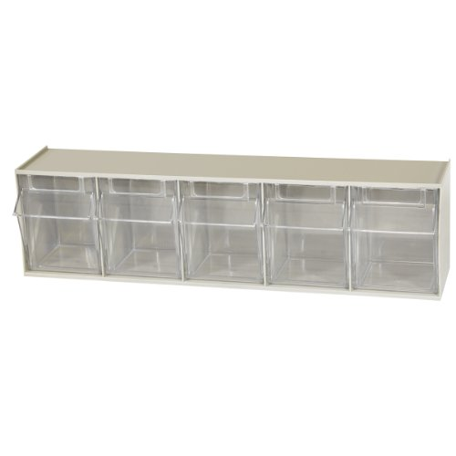 (Akro-Mils 06705 TiltView Horizontal Plastic Storage System with Five Tilt Out Bins , 23-5/8-Inch Wide by 6-1/2-Inch High by 5-3/8-Inch Deep, Stone)