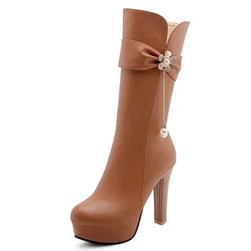 Zapatos Más Pantorrilla Brown Pieles El Mitad Agregar Mujer Plataforma De Estrenar Altos Tamaño A 34 Hoesczs Botas Tacones La Moda Invierno 43 Rq0w6ERt