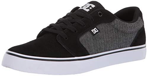 (DC Men's Anvil SE Skate Shoe, Black/Herringbone, 9 M US)