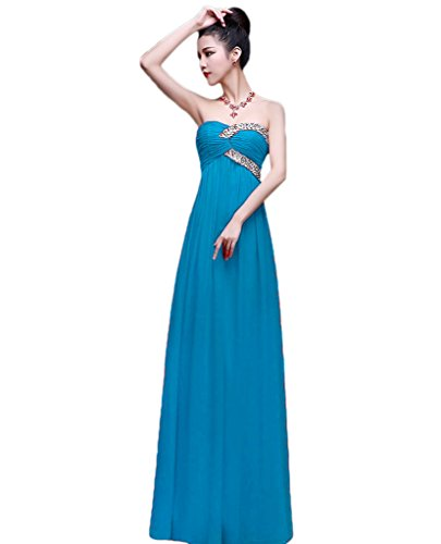 Beaded Slim Cut Formal Dress (Vimans Girls Long Elegant Blue Beaded Formal Dresses Party Gowns Sleeveless, 10)