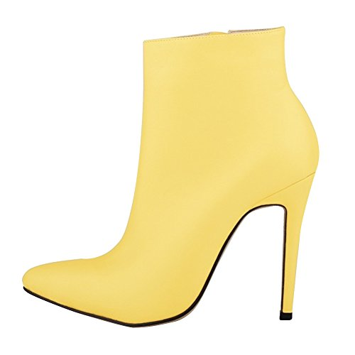 HooH Mujer Botines Cremallera Pointed Toe Tacón alto Corto Botas Amarillo