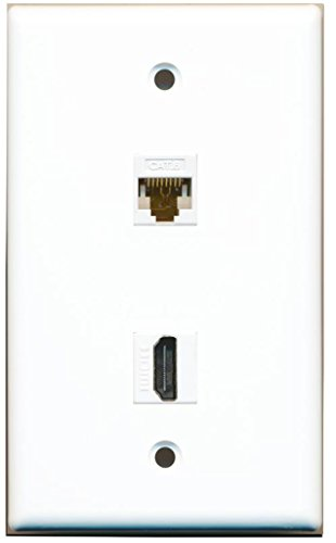 RiteAV - 1 Cat6 Ethernet and 1 HDMI Port Wall Plate - White