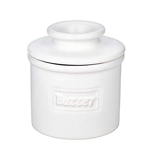 (The Original Butter Bell Crock by L. Tremain, Cafe Matte Collection - White Matte)
