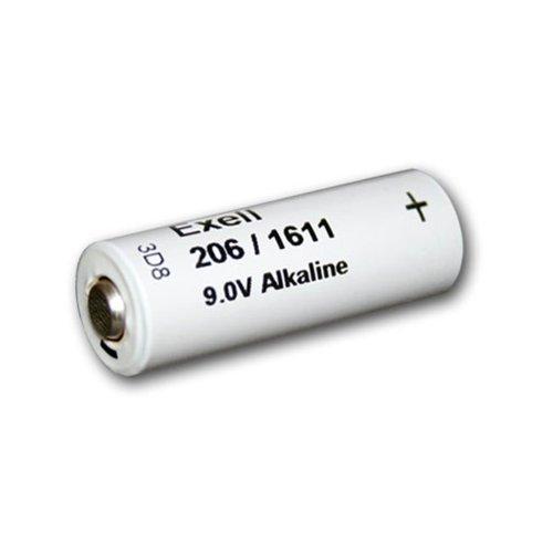 Vintage Transistor - Exell Battery 206A Alkaline 9V Battery 110mAh NEDA 1611, H-7D, H-6D, White/Silver