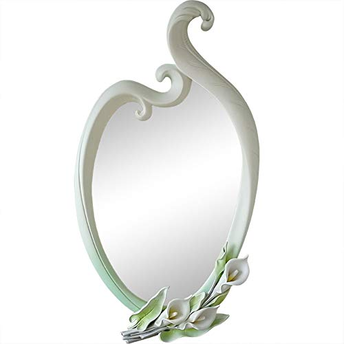 Elegant Calla Wall Hanging Mirror Hand-Carved 3D Beautiful Leaf Accent White Bathroom -