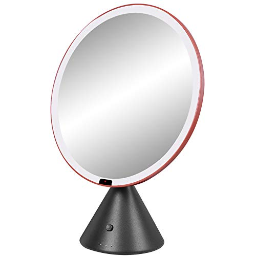 TIGOD Auto Sensor Smart Makeup Mirror with Lights, Large Round Light up Bathroom Vanity Mirror for Makeup, Rechargeable Battery Dimmable LED Makeup Mirror