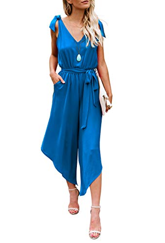 BELONGSCI Women Outfit Sleeveless Shoulder Bandage Waistband Sexy V-Neck Wide Leg Long Jumpsuit with Belt (Blue, XS)