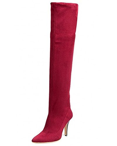 Maybest Womens Thigh High Boots Over The Knee Party Stretch High Heel Boots Winter Warm Shoes Red 10 B (M) (Go Go Boots Australia)