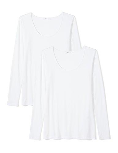 Amazon Brand - Daily Ritual Women's Jersey Long-Sleeve Scoop Neck T-Shirt, White/White, Medium