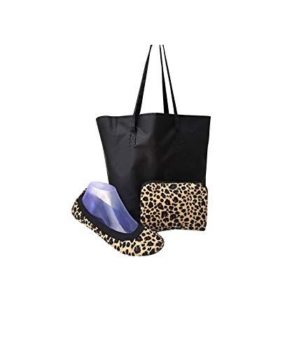 - SECRET WEAPONS Fold Up Ballet Flats-Foldable Shoes-Travel Shoes with Purse & Tote Carry Bag.Leopard Fleece Faux Fur! X-Large (Size 11-12)