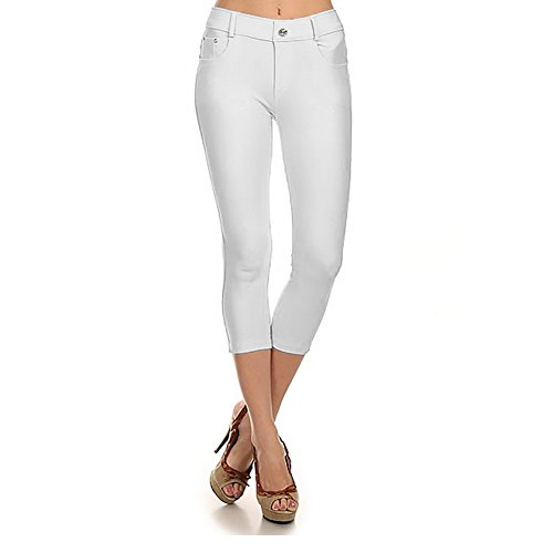 (Women's Stretchy Skinny Jeggings Shorts & Capri Pull On Style White,White,Large)