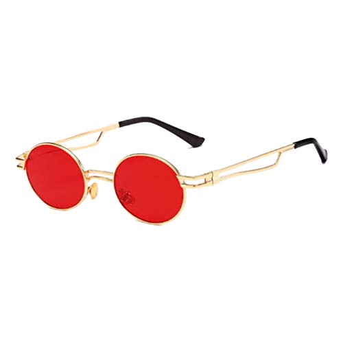 De rouge Shades Lunettes Uv400 Eyewear Rondes Retro Or 80s90s Vintage Fashion Femmes Qiansu Soleil Hommes p4q5w5
