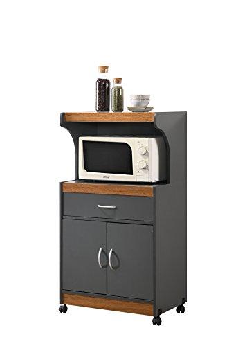 Hodedah Microwave Kitchen Cart, Grey/Oak