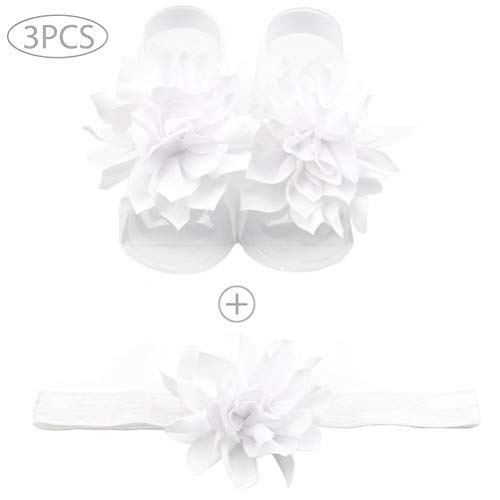 3PCS Baby Girls Flower Sandal Headband Elastic Chiffon Hairband & Toddler Barefoot Sandals 1 Pair Infant Photo Prop White BLUETOP -